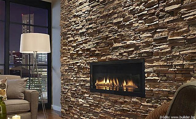 ściana w salonie z kamienia