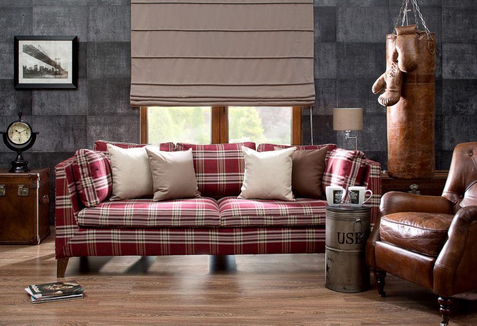 pokrowiec na sofę w szkocką kratę