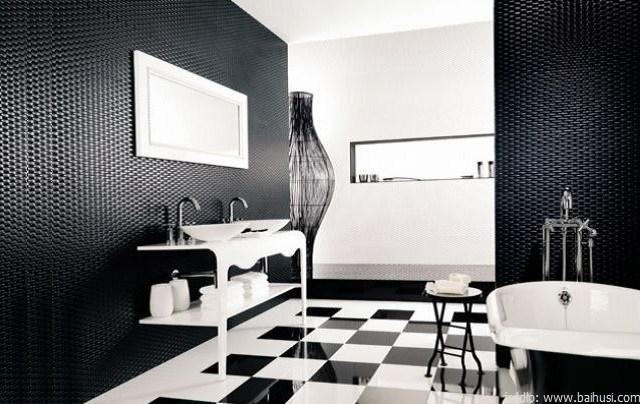biało czarna łazienka retro