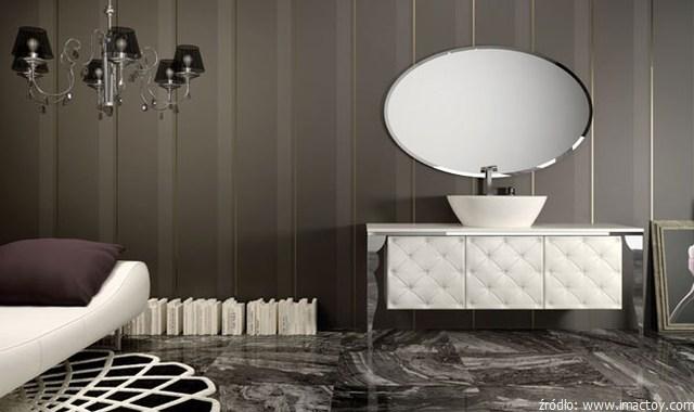 łazienka glamour w czerni i bieli