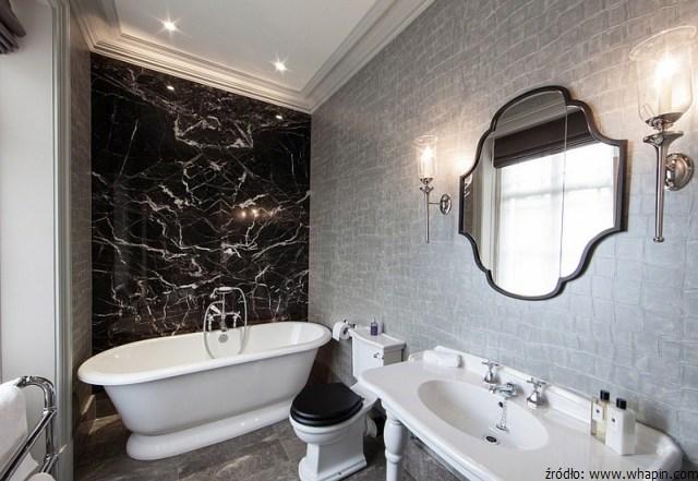 łazienka czarno biała w stylu retro