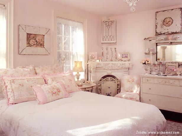 shabby chic w sypialni
